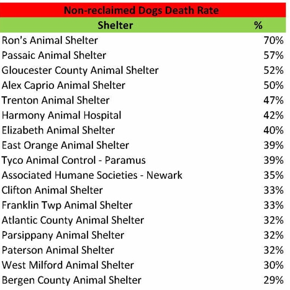 non-reclaimed dog death rate
