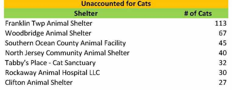 2015 unaccounted for cats