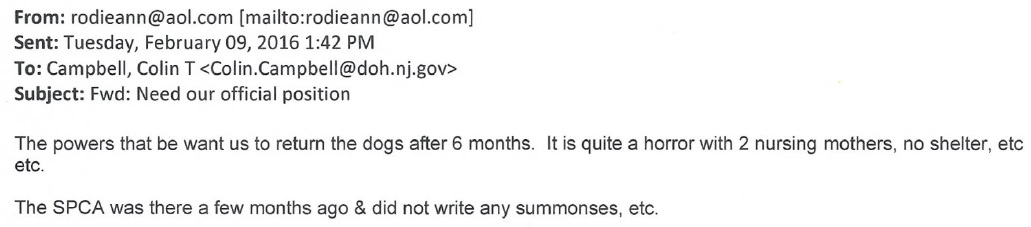 Roseann Trezza Email to Colin Campbell Pt 1