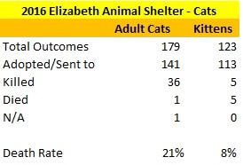 2016 Elizabeth Cat Age Statistics