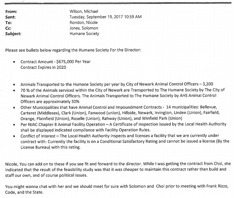 Newark Email on Feasability of Building a New Shelter