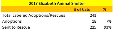 2017 Elizabeth Animal Shelter Cats Sent to Rescue and Adopted Out