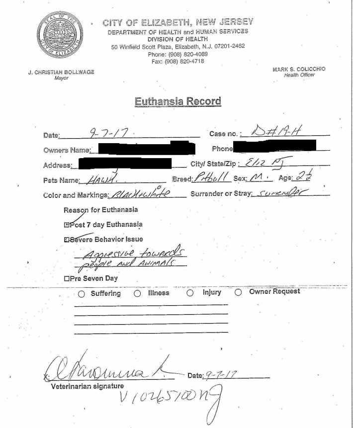 Dog 19-H Elizabeth Euthanasia Record